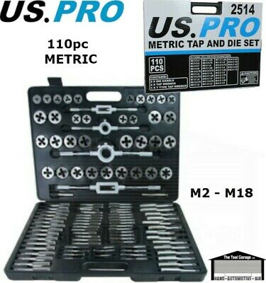 US PRO Tools 110pc Metric Tap And Die Set, Kit, 2 - 18mm NEW 2514