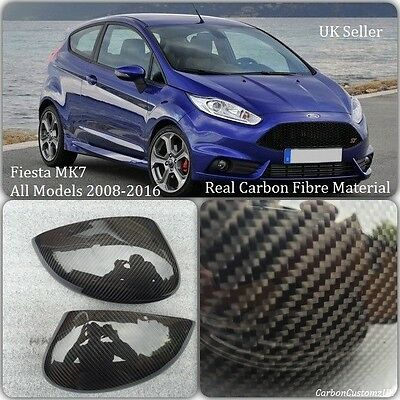Ford Fiesta MK7 Real Carbon Fibre Stick On Wing Mirror (PAIR) 2008-2016 *UK*