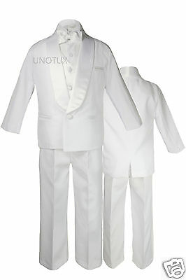 5pc Baby Toddler Kid Teen Boy Wedding Formal Shawl Lapel Tuxedo White Suit S-20