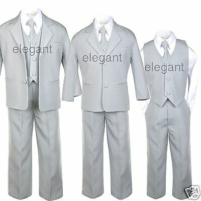 Infant Boy Toddler Teen Formal Wedding Party Recital Tuxedo Suit Silver sz S-20