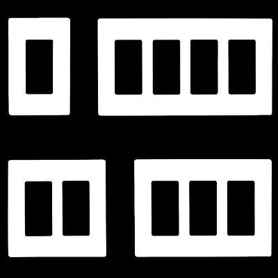 Enerlites Screwless Wall Plate Outlet Covers for Switches, 1-5 Gang, White