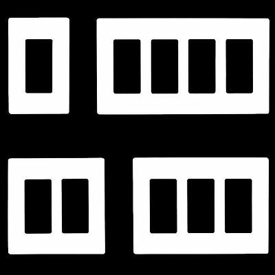 Screwless Decorator Switch GFCI Rocker Wall Plates Outlet Covers 1-5 Gang White
