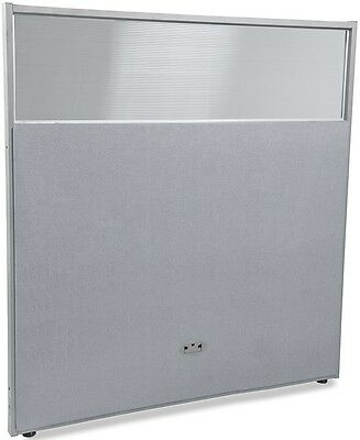 63'' H x 61'' W Poly Panel w/Translucent Tops & Gray Vinyl - Partition Panels