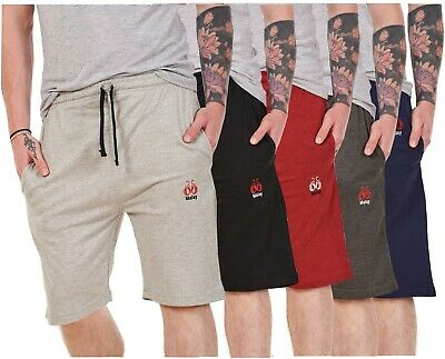 Mens Jersey Shorts 100%Cotton Lightweight Branded Side Pockets Plain Gym Holiday