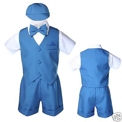 Green Turquoise Blue Teal Baby Boy Toddler Formal Vest shorts Suits Bow Tie S-4T