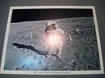 """Apollo 16 Mission  Litho Photo Print """"astronaut Young Reflected Hands"""""""""""