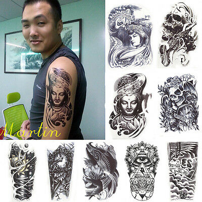 New Removable Temporary Tattoo Large Arm Body Art Tattoos Sticker Waterproof