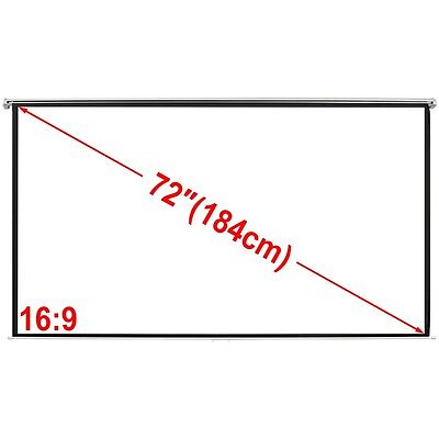 """72"""" 16:9  Portable Projector Screen Matte White Manual Pull Down Movie Theater"""