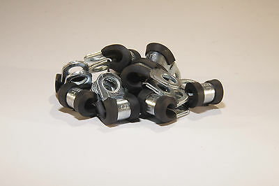 """10 x 5mm Rubber Lined P Clips for 3/16"""" brake pipe etc.."""