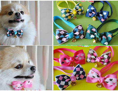Adjustable Dog Cat Puppy Plaid Heart Collar Bow Tie Necktie With Bell Pet Gift