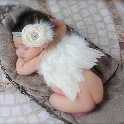 Newborn Baby Girl White Feather Angel Wing +Flower Headband Photography Props