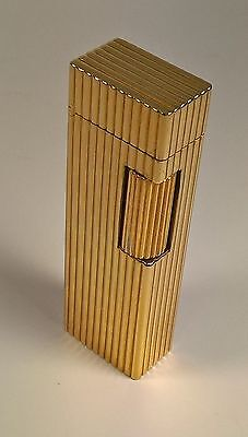 Accendino Colibri' Lubinski - Italy Originale Rigato Oro Giallo Lighter Gold New