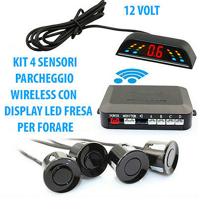 Kit 4 Sensori Di Parcheggio Wireless Universali Retromarcia Display Auto Camper