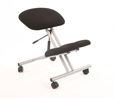 Kneeling Orthopaedic Posture Office Chair In Black Fabric Silver Frame