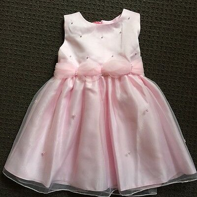 Girls gorgeous pink party dress with faux pearls size 3,4,5,6 formal occasion