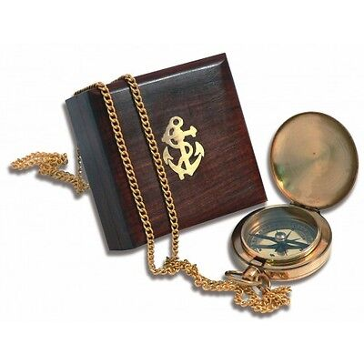 Pocket Fob Compass in Wooden Box