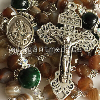 Coffee AGATE & Sterling Silve TIGER EYE BEADS ROSARY CROSS CATHOLIC NECKLACE