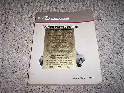 1993 Lexus LS400 LS 400 Factory Original Parts Catalog Manual Sedan 4.0 L V8