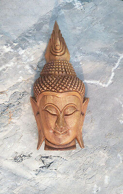 Antique Buddha Face Thai Hand Carved Old Teak Respect WallHanging