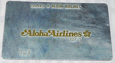 Rare Vintage Aloha Airlines Metal Ticket Validation Plate Travel Agency