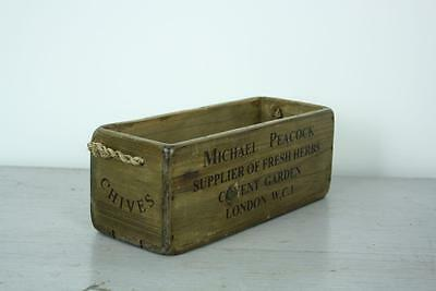 Vintage Wooden Crate Trug Bushel Box Industrial Planter Rh2 Chives Covent Garden