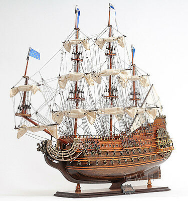 "Soleil Royal French Navy Tall Ship 36"" Built Wooden Model Boat Assembled"
