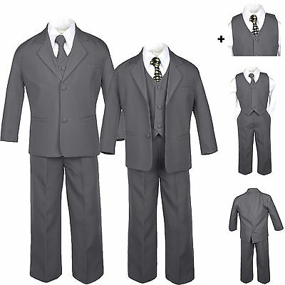 Baby Toddler Teen Formal Dark Grey Tuxedo 6pc Set Boys Suits Black Dot Tie S-20