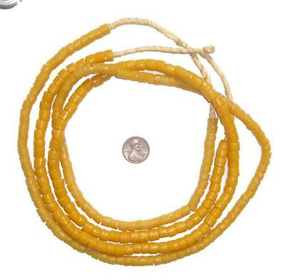 Amber Color Sandcast Cylinder Beads 8mm Ghana African Yellow Glass Large Hole