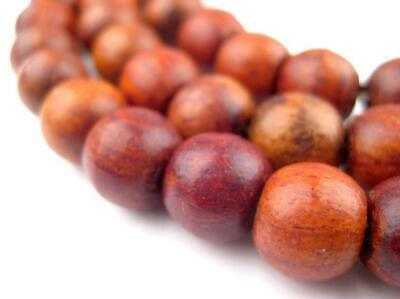 Rosewood Beads 9x11mm Indonesia Brown Round Wood Large Hole 40-42 Inch Strand