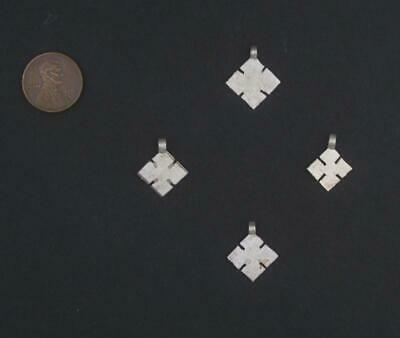 Silver Ethiopian Cross Ornaments Set of 4 15mm African White Metal Large Hole