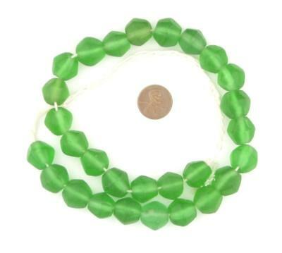Green Sea Glass Java Faceted Bicone Beads 15mm Indonesia Large Hole
