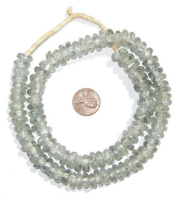 African Grey Mist Rondelle Recycled Glass Beads Ghana