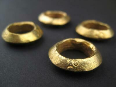 Brass Ethiopian Wollo Rings 22mm Set of 4 African Large Hole Handmade