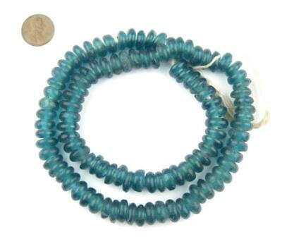 African Teal Rondelle Recycled Glass Beads Ghana