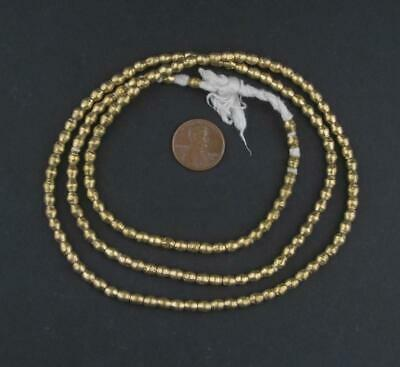 Round Brass Ethiopian Beads 4mm African Large Hole 30-32 Inch Strand Handmade