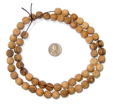Olive Wood Beads - Round - Carved (10mm)