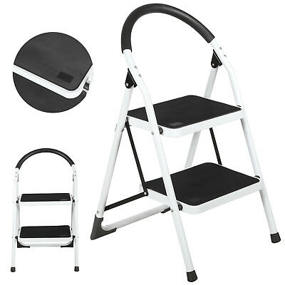 2 Step Lightweight Folding Stool Heavy Duty 330lbs Capacity Ladder Home Use