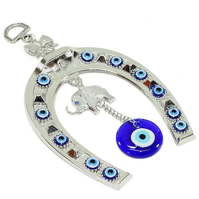 Turkish Blue Evil Eye Horseshoe with Elephant and Ribbon Wall Hanging Amulet