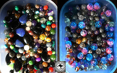 Loose Mixed Beads.200 Beads.Turquoise, Agate,Azurite,Crackle Glass.DIY Jewellery