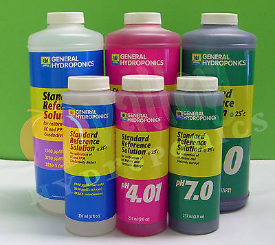 General Hydroponics CALIBRATION SOLUTION 8oz QT: pH 4.01, pH 7.0, 1500 ppM GH