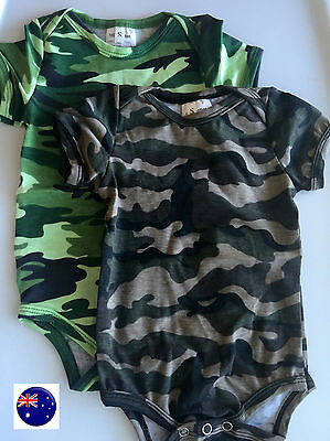 Boy Kid Baby Army Military Party Cotton Camouflage Green Camo Romper Bodysuit