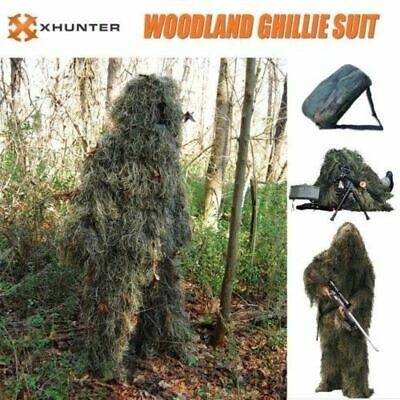 Xhunter Ghillie Suit 5pcs Woodland Camouflage Hunting Archery Sniper Clothing