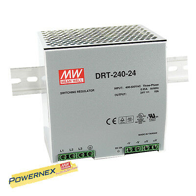 MEAN WELL [PowerNex] NEW DRT-240-48 48V 5A 240W Three Phase Industrial DIN RAIL
