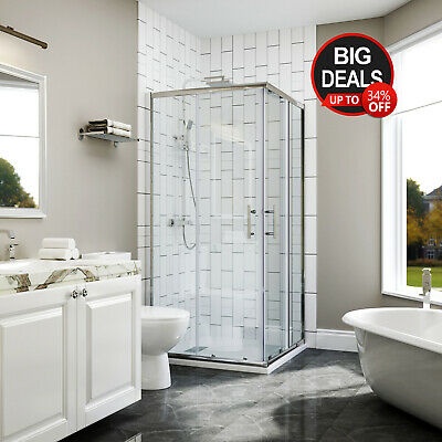 900x900x1900mm Square Sliding Shower Screen Enclosure Double Doors Corner Entry