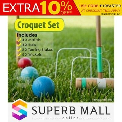 Halex Classic Croquet Set with Carry Bag Up to 4 Players w/ Free Carry Bag