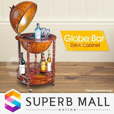 Antique Globe Bar Cabinet / Drink Trolley Storage Serving Cart Alcohol Furniture