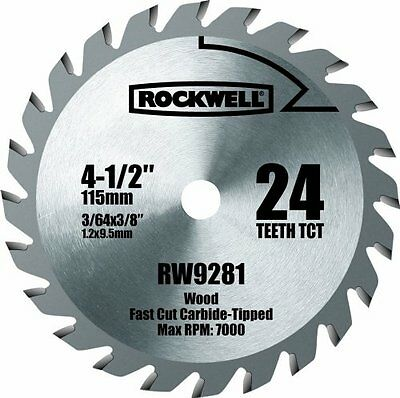 Rockwell RW9281 4 1/2-Inch 24T Carbide Tipped Compact Circular Saw Blade, New, F