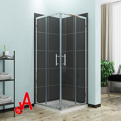 1000x1000x1900mm Square Corner Sliding Shower Screen Enclosure with Shower Base