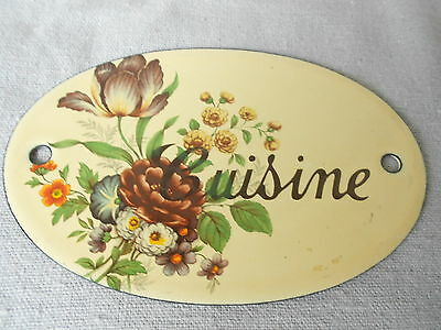 French vintage ENAMELWARE door KITCHEN PLAQUE : CUISINE fine flowers déco