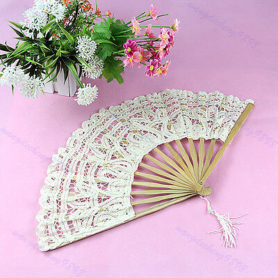 Wholesale Lace Tulle Hand Fans Folding Wedding Birthday Party Favors Gift